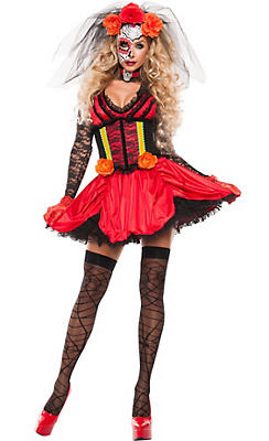 Adult Sexy Day of the Dead Doll Costume