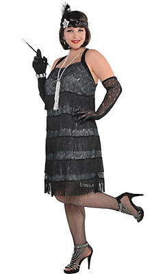 Adult Black Lace Flapper Costume Plus Size