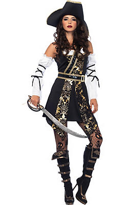 quick shop adult black sea buccaneer pirate costume - Pirate Halloween Costumes Women