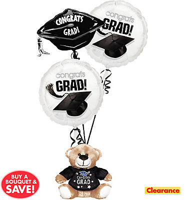 Foil Black & White Graduation Balloon Bouquet 3pc with Bear