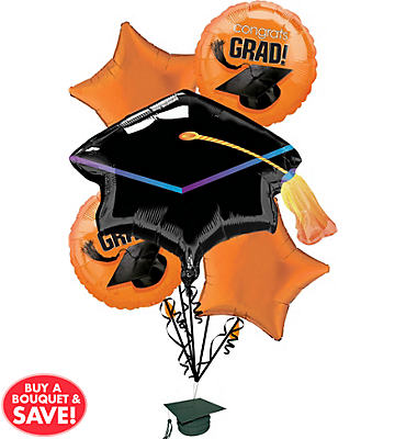 Foil Orange Graduation Balloon Bouquet 6pc