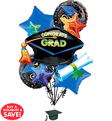 Foil Celebration Graduation Balloon Bouquet 6pc