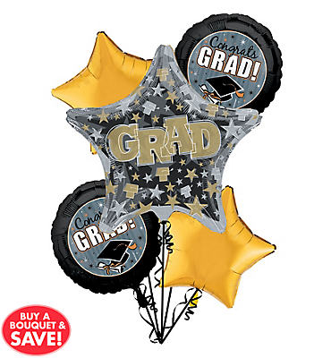 Foil Grad Honors Graduation Balloon Bouquet 5pc