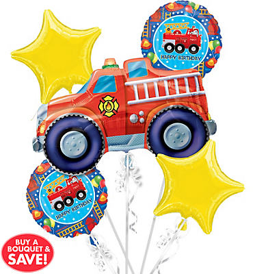 Fire Engine Birthday Balloon Bouquet 5pc