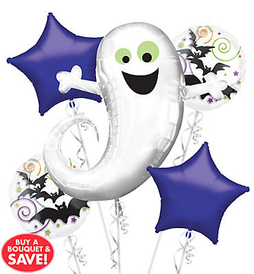 Holographic Ghost Halloween Balloon Bouquet 5pc