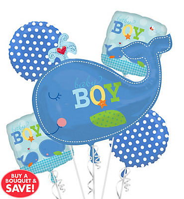 Baby Shower Balloon Bouquet 5pc - Ahoy Baby Boy