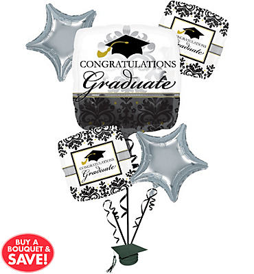 Foil Black & White Graduation Balloon Bouquet 6pc