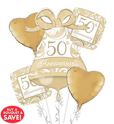 Foil 50th Anniversary Balloon Bouquet 5pc