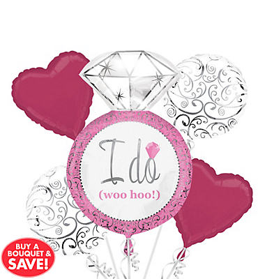 Foil Bright Pink Bridal Shower Balloon Bouquet 5pc