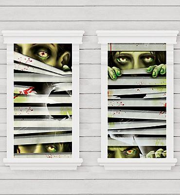 Peeping Zombie Window Decorations 2ct