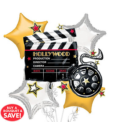 Foil Hollywood Clapboard Balloon Bouquet 5pc