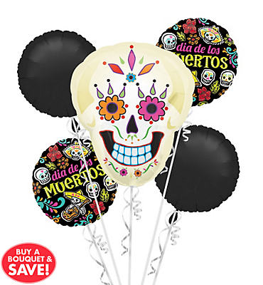Day of The Dead Halloween Balloon Bouquet 5pc