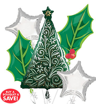 Damask Christmas Tree Balloon Bouquet 5pc