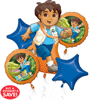 Happy Birthday Go, Diego, Go! Balloon Bouquet 5pc