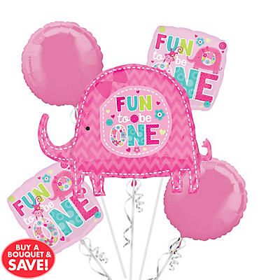 1st Birthday Balloon Bouquet 5pc - One Wild Girl