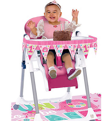 Wild at One Girl's 1st Birthday High Chair Decorating Kit 2pc