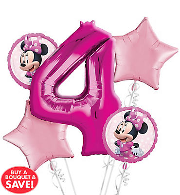 Minnie Mouse 4th Birthday Balloon Bouquet 5pc
