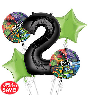 Teenage Mutant Ninja Turtles 2nd Birthday Balloon Bouquet 5pc