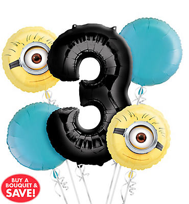 Despicable Me 3rd Birthday Balloon Bouquet 5pc