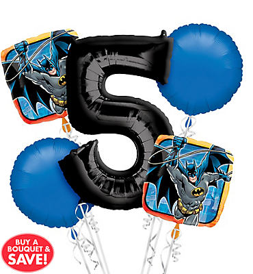 Batman 5th Birthday Balloon Bouquet 5pc