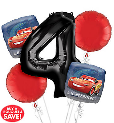 Cars 4th Birthday Balloon Bouquet 5pc