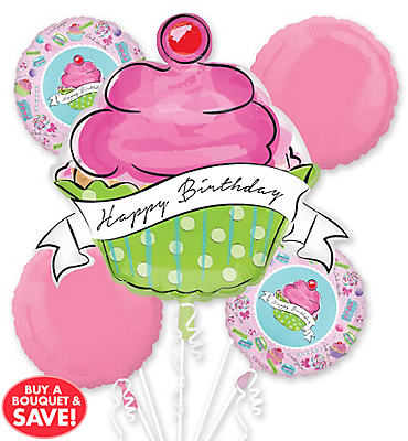 Happy Birthday Balloon Bouquet 5pc - Giant Cupcake