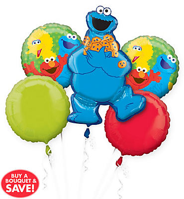 Cookie Monster Balloon Bouquet 5pc - Sesame Street