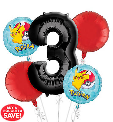Pokemon 3rd Birthday Balloon Bouquet 5pc