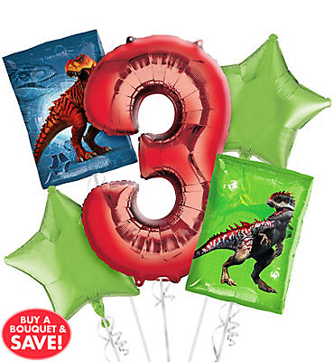 Prehistoric Dinosaurs 3rd Birthday Balloon Bouquet 5pc
