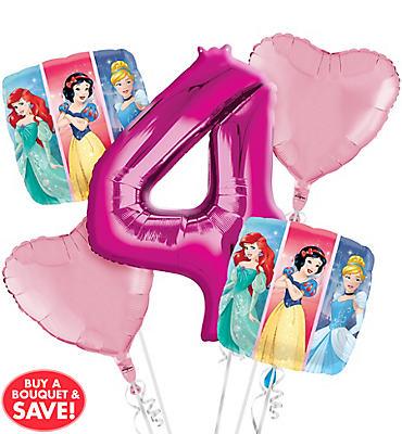 Disney Princess 4th Birthday Balloon Bouquet 5pc