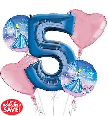 Cinderella 5th Birthday Balloon Bouquet 5pc