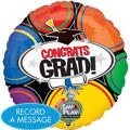 Foil Congrats Grad Circles Singing Graduation Balloon 28in