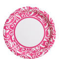 Bright Pink Ornamental Scroll Lunch Plates 8ct