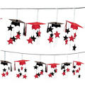 Red 3D Grad Cap Graduation Garland 12ft