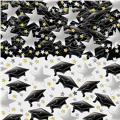Graduation Black & Silver Metallic Confetti 1/2oz