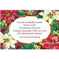 Poinsettias and Evergreens Custom Christmas Invitation