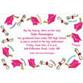 Pink Tossed Grad Caps Custom Graduation Invitation