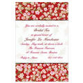 Asian Floral on Red Custom Invitation