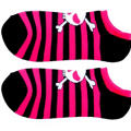 Black and Pink Stripe Skull Ankle Socks
