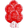 Latex Red Confetti Birthday Printed Balloons 12in 6ct