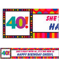 Birthday Dots & Stripes 40 Custom Banner 6ft