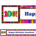 Birthday Dots & Stripes 100 Custom Banner 6ft
