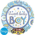 Foil Sweet Baby Boy Singing Balloon 28in