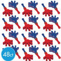 Mini Red & Blue Hand Clappers 3 1/2in 48ct<span class=messagesale><br><b>25¢ per piece!</b></br></span>