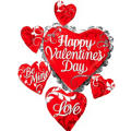 Swirl Heart Cluster Valentines Day Balloon 34in