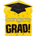 Yellow Congrats Grad Cutout 15in