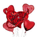 Foil Sexy Devil Valentines Day Balloon Bouquet 5pc