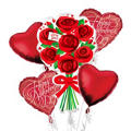 Love You Red Roses Valentines Day Balloon Bouquet 5pc