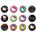 Neon Hello Kitty Buttons 12ct