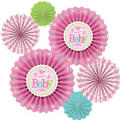 Girl Welcome Baby Paper Fan Decorations 6ct - Pink Little One